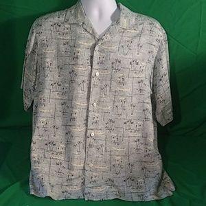 Men's Claiborne silk island pattern button shirt